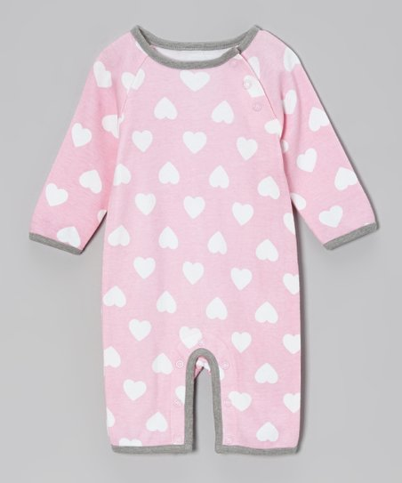 Pink & Gray Heart Romper - Infant