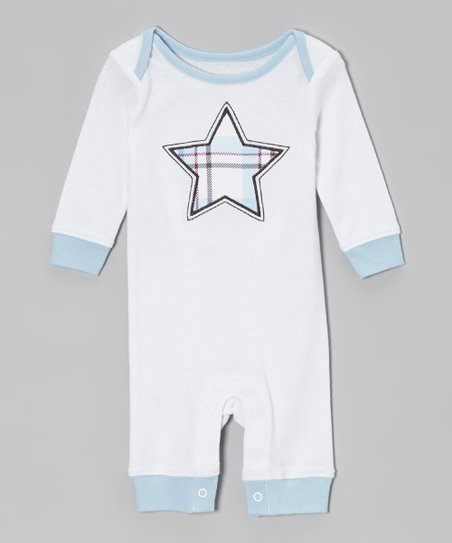Blue & White Star Ribbed Romper - Infant