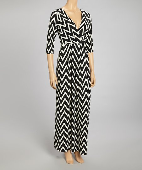 Black & White Bold Zigzag Surplice Maxi Dress - Women