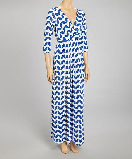 Blue & White Abstract Ruched Surplice Maxi Dress