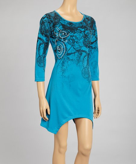 Turquoise Paisley Swirl Sidetail Dress