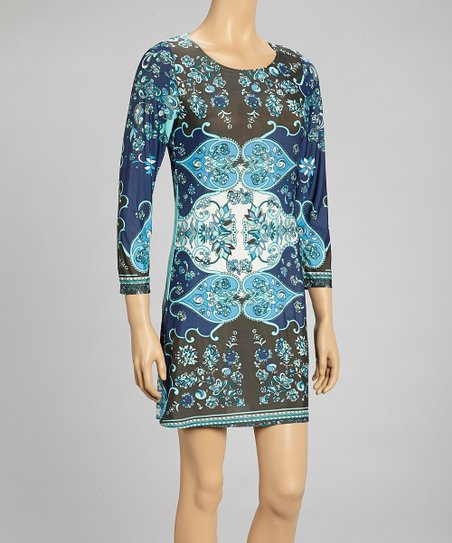 Blue & Brown Floral Paisley Shift Dress