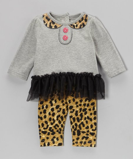Gray Leopard Ruffle Tunic & Leggings - Infant