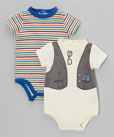 White Vest Bodysuit Set - Infant