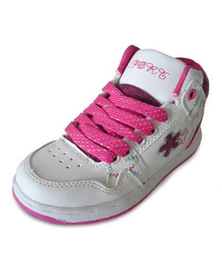 White & Hot Pink Hi-Top Sneaker