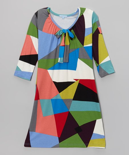 Pink & Blue Abstract Dress - Girls
