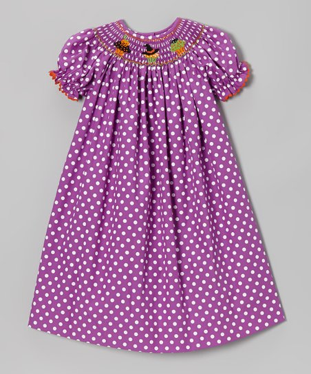 Purple Polka Dot Cupcake Bishop Dress - Infant, Toddler & Girls