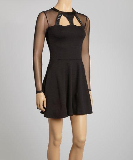 Black Ponte Skater Dress