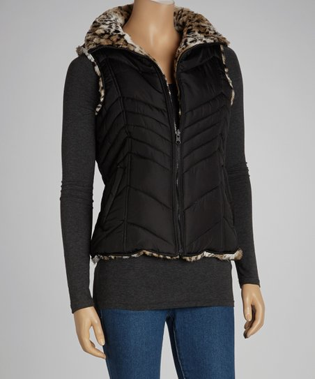 Black & Brown Leopard Reversible Puffer Vest