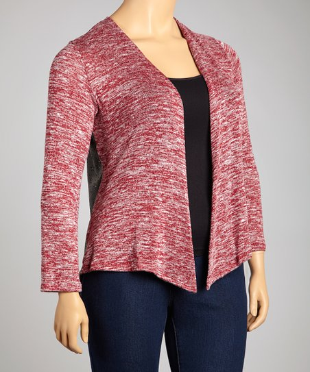 Burgundy Marled Knit Open Cardigan - Plus