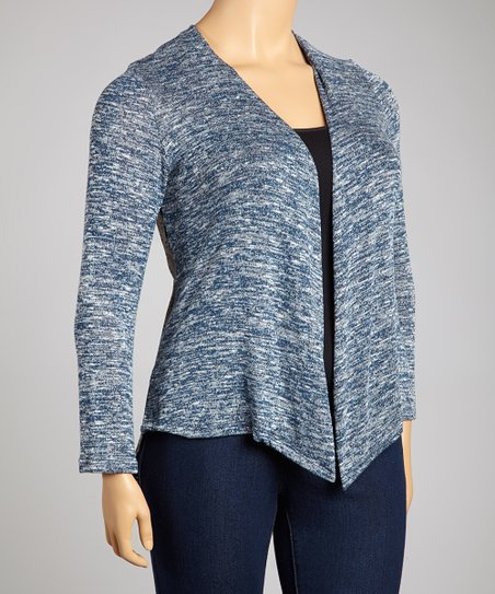 Navy Marled Knit Open Cardigan - Plus