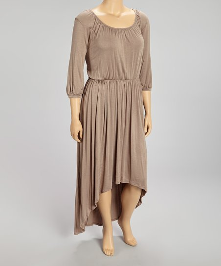 Mocha Ruched Blouson Hi-Low Dress- Plus