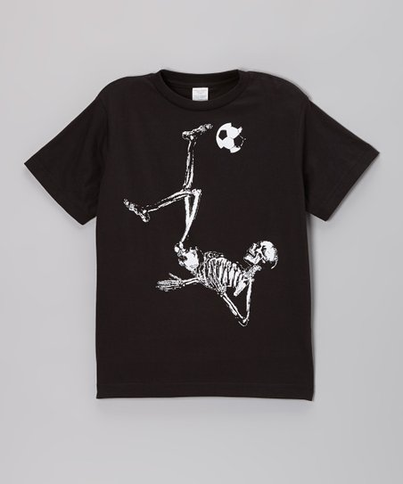 Black Soccer Skeleton Tee - Toddler & Boys