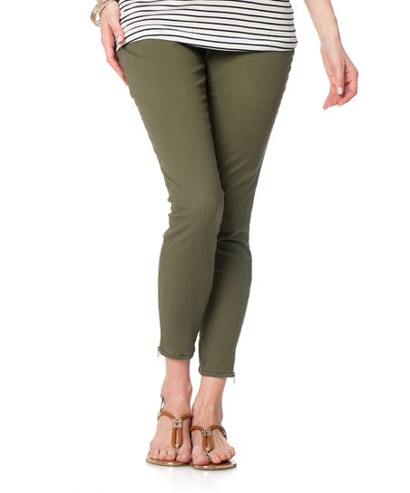 Green Secret Fit Belly® Twill Maternity Skinny Pants