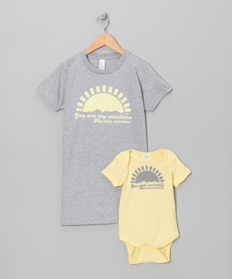 Banana 'My Sunshine' Bodysuit & Frost Gray Tee - Infant & Women