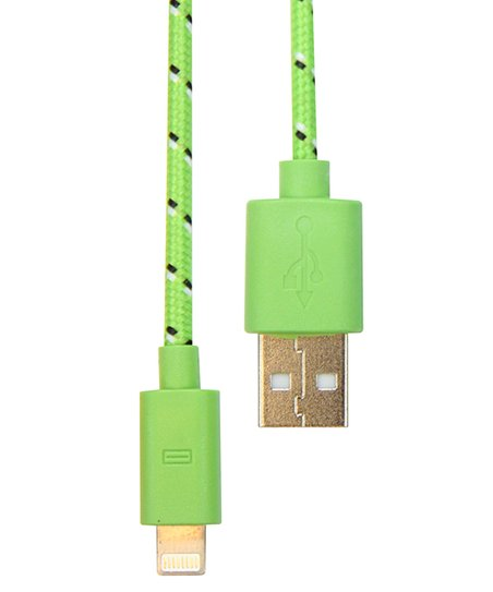 Green Nylon Charge & Sync Cable for iPhone 5