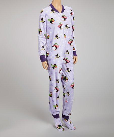 Lilac Penguin Footie Pajamas - Women