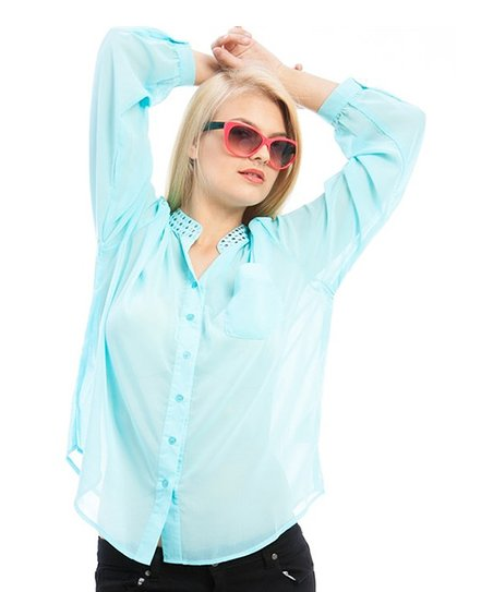Aqua Sheer Studded Button-Up - Plus