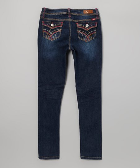 Medium Wash & Red Embroidered Skinny Jeans