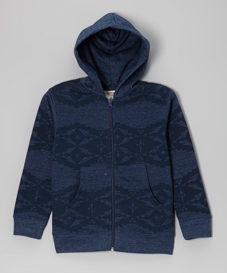 Heather Navy Diamond Fleece Zip-Up Hoodie - Boys