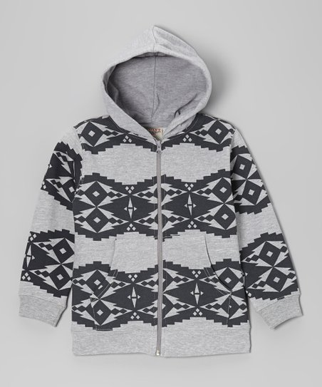 Heather Gray Diamond Fleece Zip-Up Hoodie - Boys