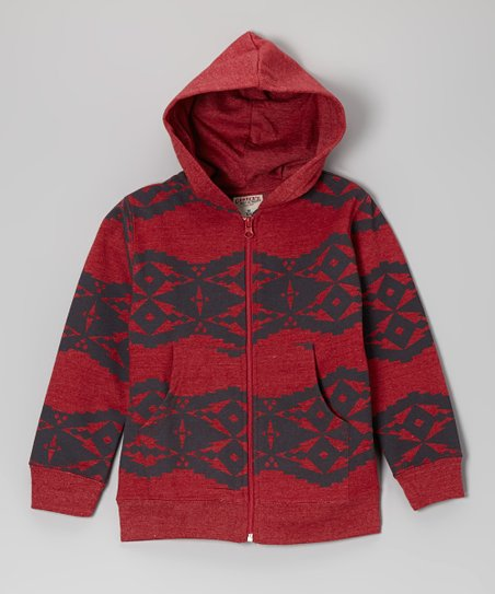 Heather Red Diamond Fleece Zip-Up Hoodie - Boys