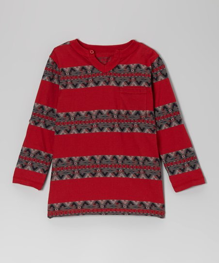 Crimson Stripe Long-Sleeve Tee - Boys