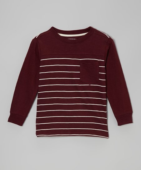 Garnet Stripe Pocket Long-Sleeve Tee - Toddler & Boys