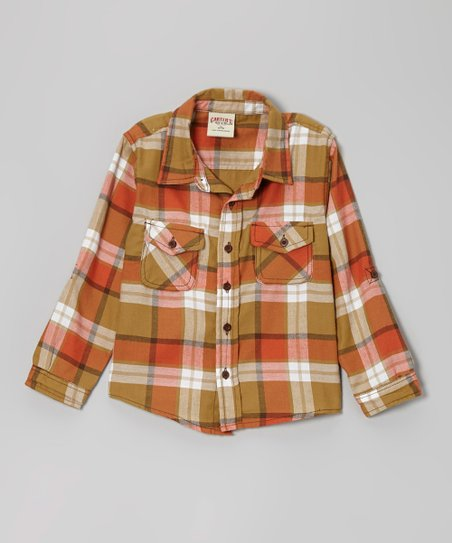Autumn Orange Plaid Button-Up Shirt - Toddler & Boys