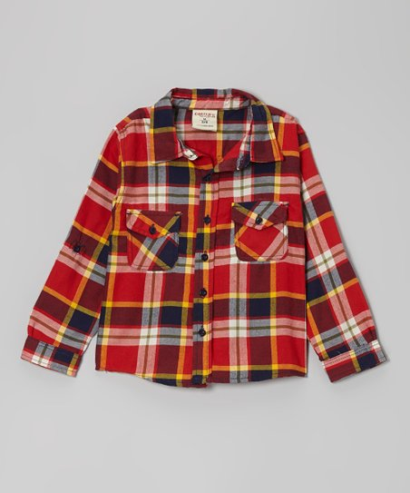 Red Glaze Plaid Button-Up Shirt - Toddler & Boys