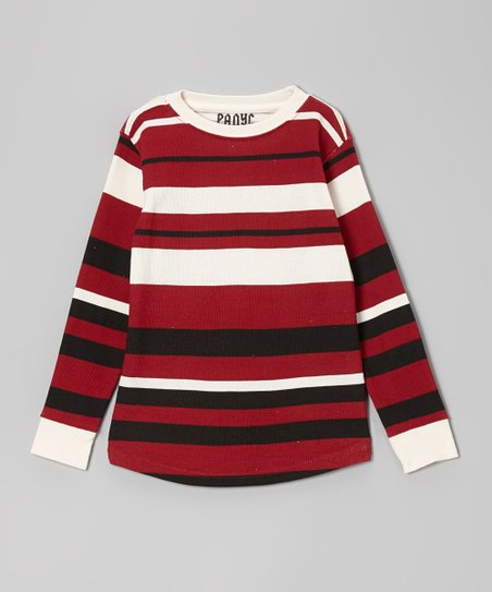 Crimson Bold Stripe Thermal Tee - Boys
