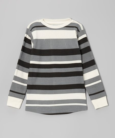 Pavement Gray Bold Stripe Thermal Tee - Boys