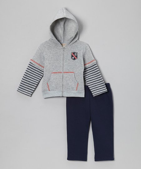 Gray Stripe Fleece Zip-Up Hoodie & Navy Pants - Infant & Toddler
