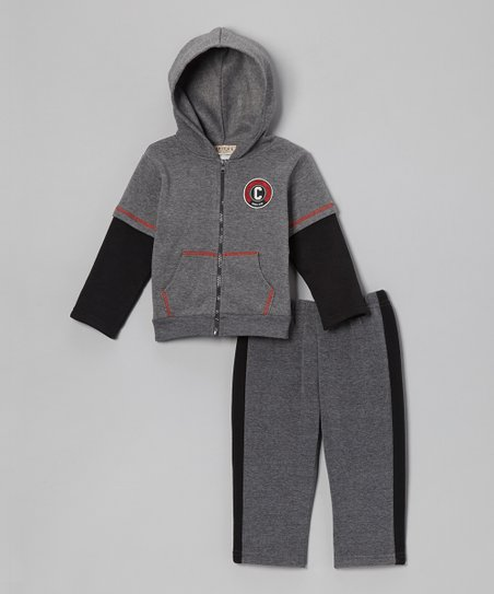 Charcoal & Black Fleece Zip-Up Hoodie & Pants - Infant & Toddler