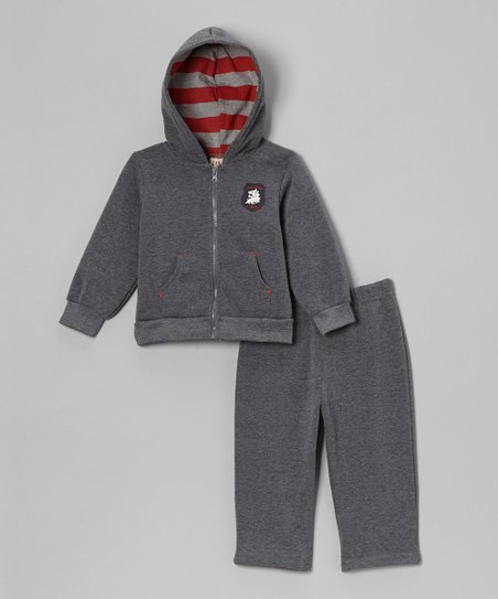 Charcoal Crest Fleece Zip-Up Hoodie & Pants - Infant & Toddler