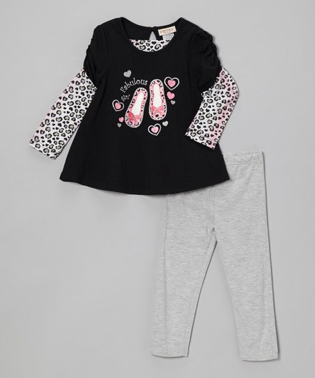 Black Shoe Layered Top & Gray Leggings - Infant