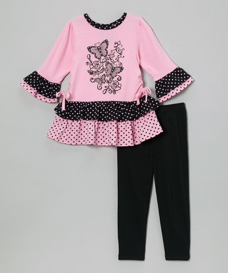 Pink Butterfly Ruffle Top & Black Leggings - Infant & Toddler