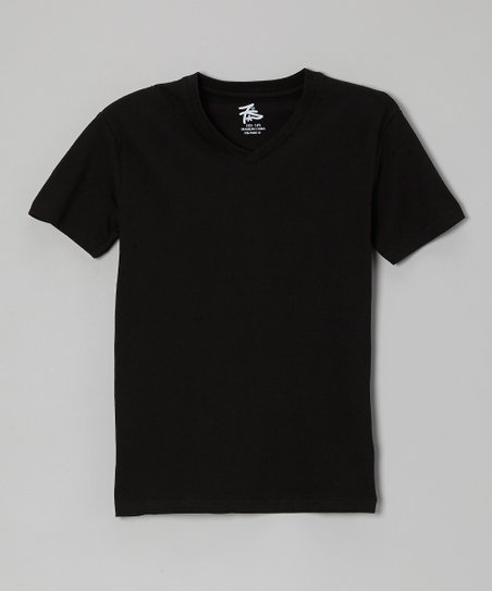 Black V-Neck Tee - Boys