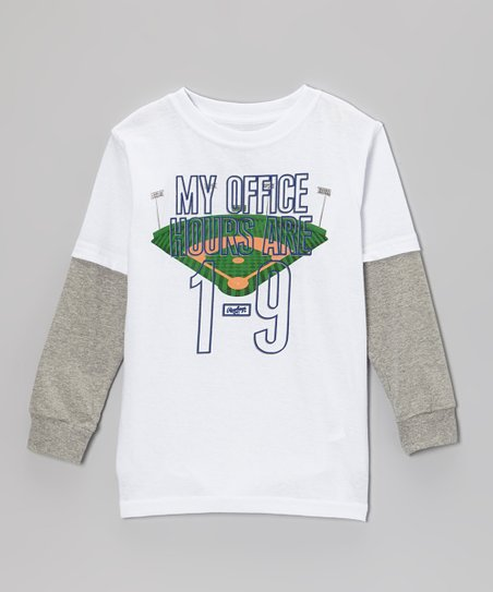 Pure White 'My Office Hours Are 1-9' Layered Tee - Toddler & Kids