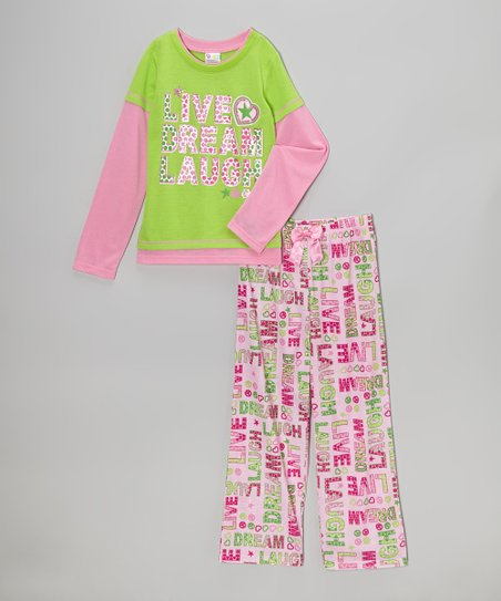 Pink & Green 'Live, Dream, Laugh' Pajama Set - Girls