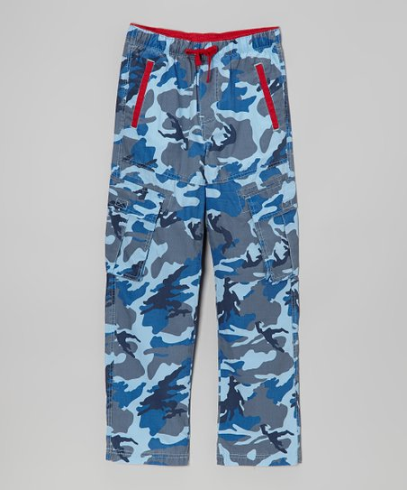 Blue & Red Camo Cargo Pants