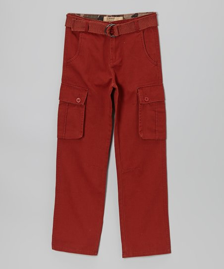 Red Twill Cargo Pants