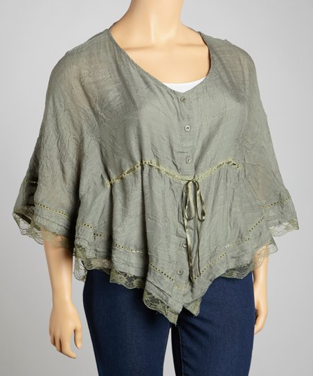 Olive Lace-Trim Drawstring Top - Plus