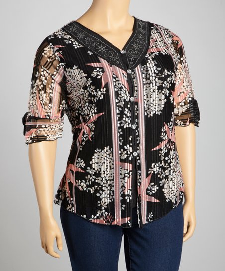 Black & Coral Embellished Button-Up Top - Plus