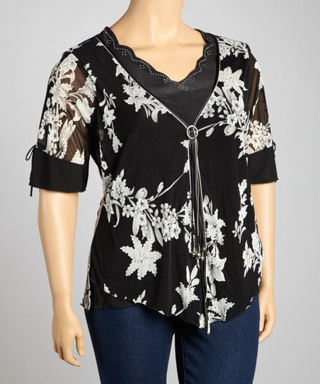 Black & Taupe Sweetheart Layered Top - Plus