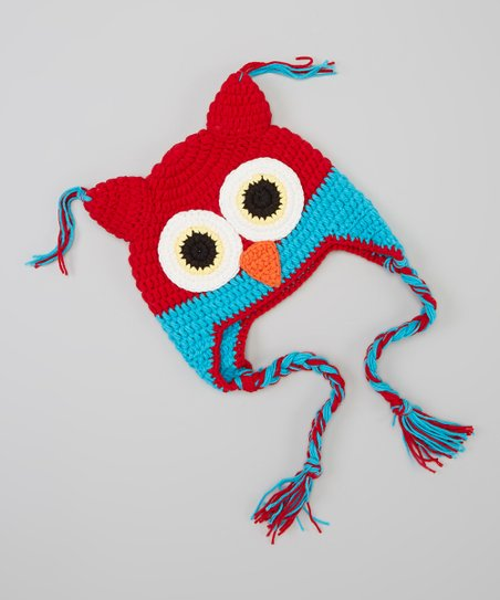 Red & Blue Owl Earflap Beanie