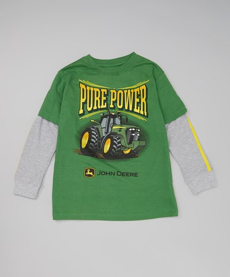 Green 'Pure Power' Layered Tee & Tractor Toy - Boys