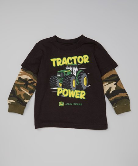 Black 'Tractor Power' Layered Tee & Tractor Toy - Toddler