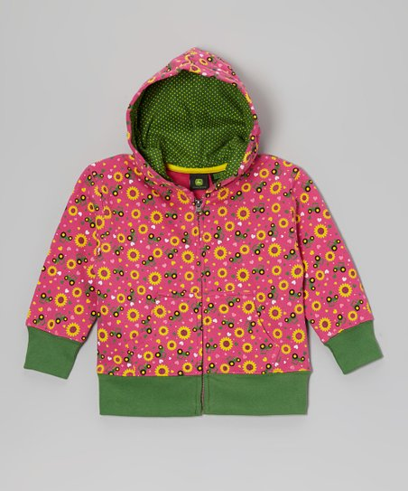 Hot Pink & Green Sunflower Zip-Up Hoodie - Infant & Toddler
