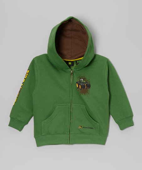Green 'Dirt Magnet' Zip-Up Hoodie - Infant & Toddler